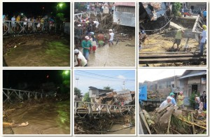 heavy downpour cause bridge to collapse and damage to properties