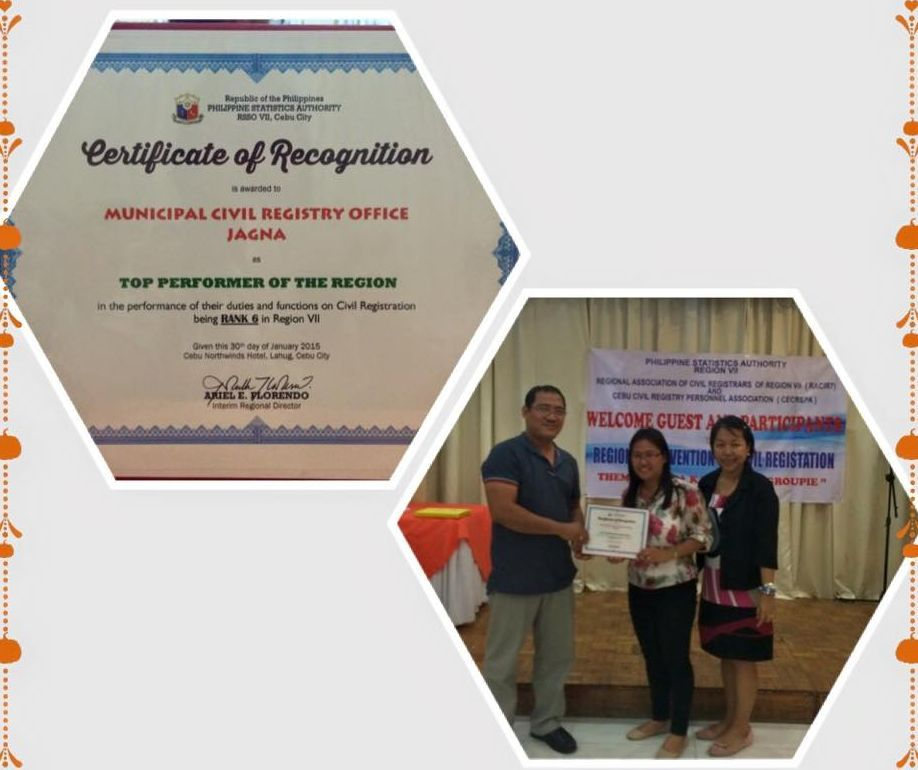 The Local Government Unit of Jagna congratulates the Local Civil Registry team headed by Ms. Lovella E. Acebes for being 6th place in the Region VII Top Performers in the conduct of duties and functions on Civil Registration.