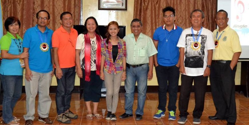 "From l to r: Mrs. Marilou V. Naldoza, JaSMED Coordinator; Mr. Catalino B. Berro, Tourism Officer; Vice Mayor Bonifacio J. Vitrudes, Jr.; Mrs. Teresa Gina S. Ranan, composer; Anne Bethany R. Basilio, performer; Mayor Fortunato R. Abrenilla; Mr. James Cyril R. Tadena, music arranger; Mr. Samuel C. Octubre, judge; Mr. Marianito Jose Luspo, chairperson of the Board of Judges for the Calamay Jingle. (photo by Samuel ""Bebot"" Octubre)"