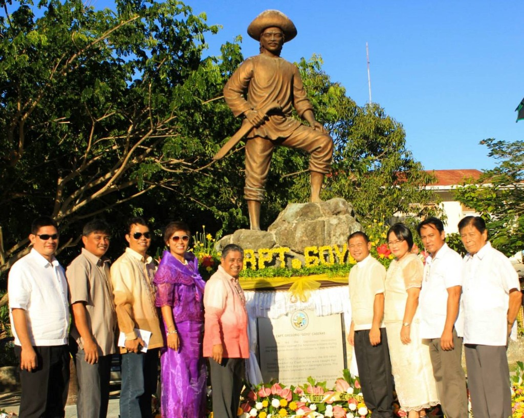 Jagna municipal officials led by Mayor Fortunato R. Abrenilla unveiled the Capt. Goyo Marker on June 12, 2015 in honor of Jagna's local hero Capt. Gregorio Casenas leading revolutionaries in the fight for freedom against the Americans.