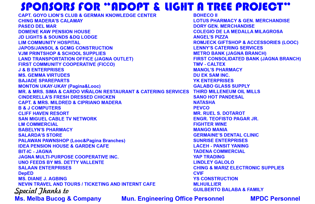LGU Jagna thanks all Adopt and Light A Tree Sponsors